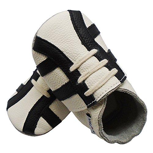 Mejale Junge Mädchen Kleinkind Weich Krabbelschuhe Baby Hausschuhe Lederpuschen Lauflernschuhe Turnschuhe Weiß