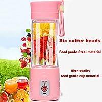 6 Blades USB Portable Rechargeable Electric Fruit Juicer Smoothie Maker Blender (Blue) 380 ml (Pink)