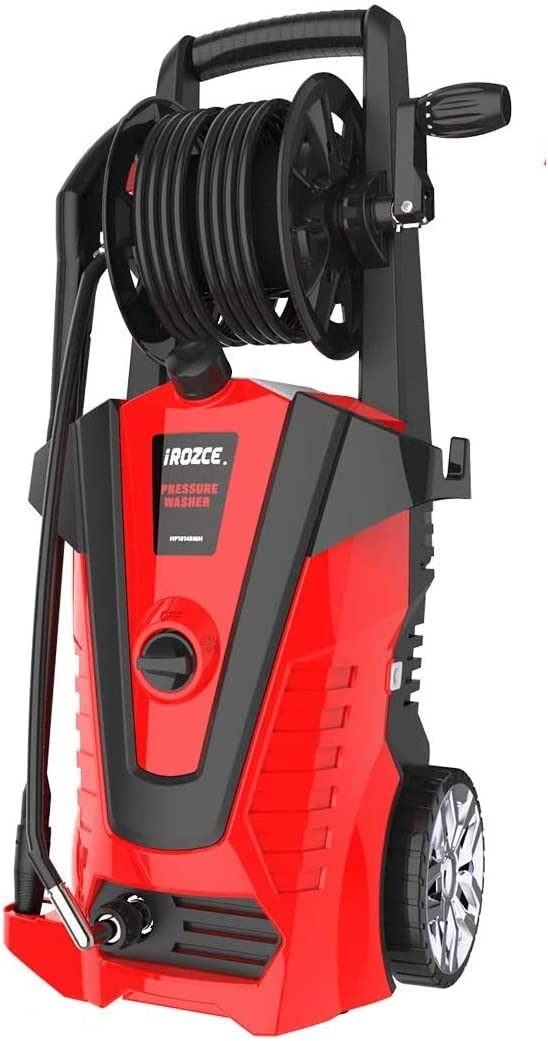 iRozce High Pressure Washers, 3500PSI 2.2GPM Max Electric Power Washer with Hose Reel/Adjustable Nozzles/On-Board Detergent Tank for Concrete, Deck, Patio Furniture, Car Washing