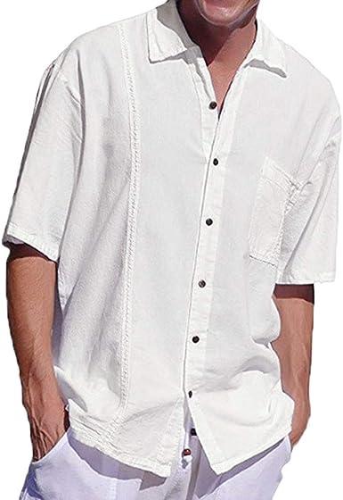 Camisa Holgada de Lino para Hombres Botones de Bolsillo Blusa de Manga Corta: Amazon.es: Ropa y accesorios