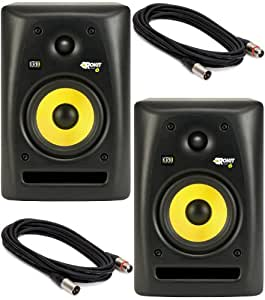 KRK Rokit 6 Studio Monitor Speaker Bundle with Pair of Monitors and XLR Cables