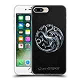 Official HBO Game Of Thrones Silver Targaryen Sigils Soft Gel Case for Apple iPhone 7 Plus / 8 Plus