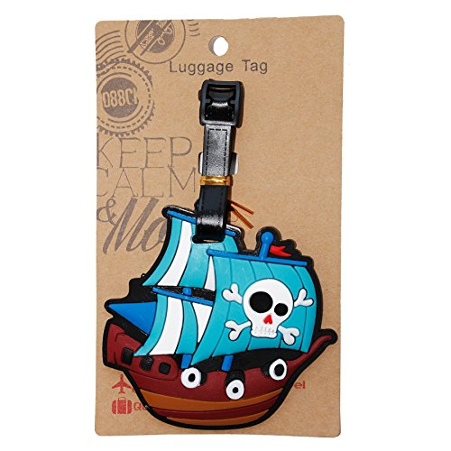 Pirate Luggage Tag (DIYJewelryDepot 1 Pc. Pirate Ship Luggage Name ID Large Backpack Travel Bag Tag)