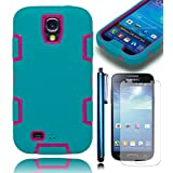 Bastex Heavy Duty Hybrid Teal/Hot Pink Tron Case Cover for Samsung Galaxy S4 i9500**NCLUDES SCREEN PROTECTOR AND STYLUS**