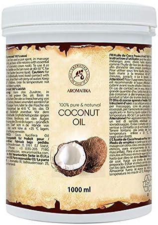 Aceite de Coco 1000ml - Aceite de Coco Nucifera - Indonesia - 100% Puro & Natural - Prensado en Frнo - Mejores Beneficios para el Cuidado del Cabello de la Piel - Aceites Sin Refinar