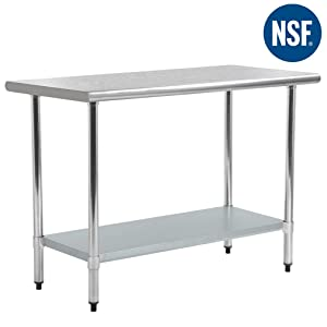 FDW Kitchen Work Table Antirust and Scratch Resistent Metal Stainless Steel Work Table with Adjustable Table Foot,24 X 60 Inchs