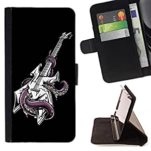KingStore / Leather Etui en cuir / Samsung Galaxy S4 Mini i9190 / ?Fresco Pulpo Guitarra
