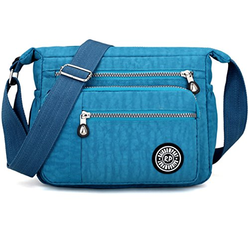 Women's Fashion Shoulder Bags Nylon Cross Body Bags Casual Messenger Bags Sea Blue