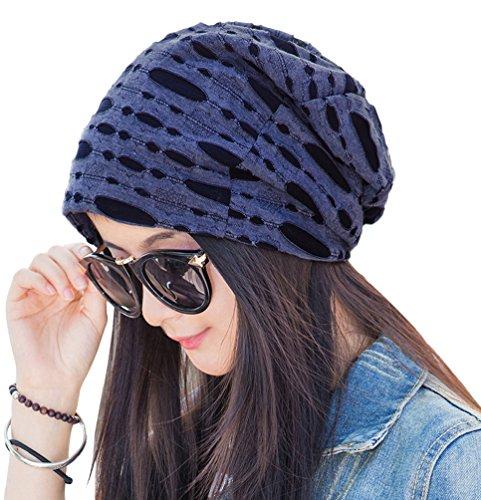 EachWell Women Pleated Ruffle Stretch Turban Hat Hair Wrap Cover Up Sun Cap Denim Blue