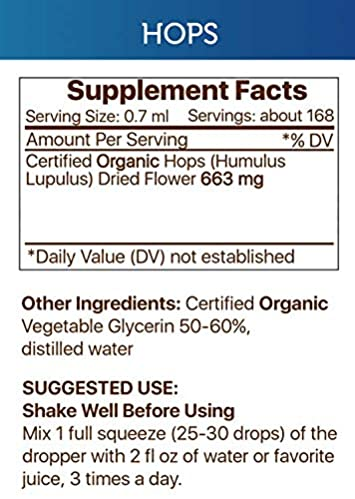 Hops Alcohol-Free Liquid Extract, Organic Hops Humulus Lupulus Dried Flower Tincture Supplement 4 FL OZ