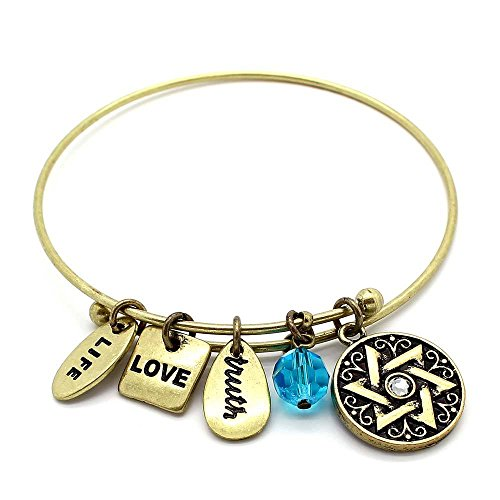 - KIS-Jewelry Symbology 'Star of David' Bangle Bracelet, Brass Plated - Expandable Wire Charm Bracelet Accented with Crystal Stones and One Shiny Glass Bead - Perfect Jewelry for Fashion