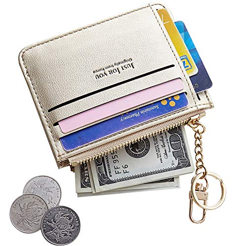 Cyanb Slim Leather Credit Card Case Holder Front Pocket Wallet Change Purse for Women Girls with keychain Pearized Gold ()