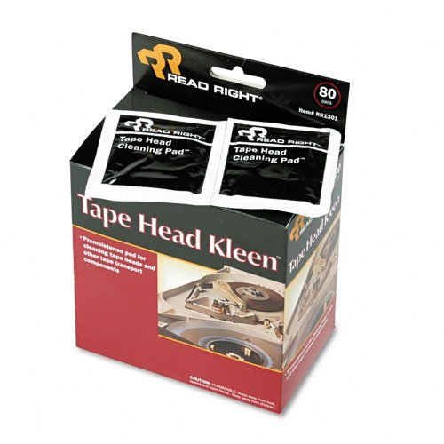 Read Right : Tape Head Kleen Pad, Individually Sealed Pads, 5 x 5, 80/box -:- Sold as 2 Packs of - 80 - / - Total of 160 Each