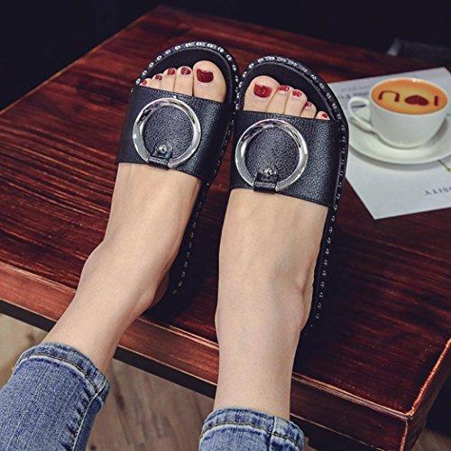 Malloom® Damen Sommer Strand Plattform Hausschuhe Casual Keil Sandalen Frauen Schuhe Damen Einteilige Runde Slip Flip Flop Sandalen Schwarz