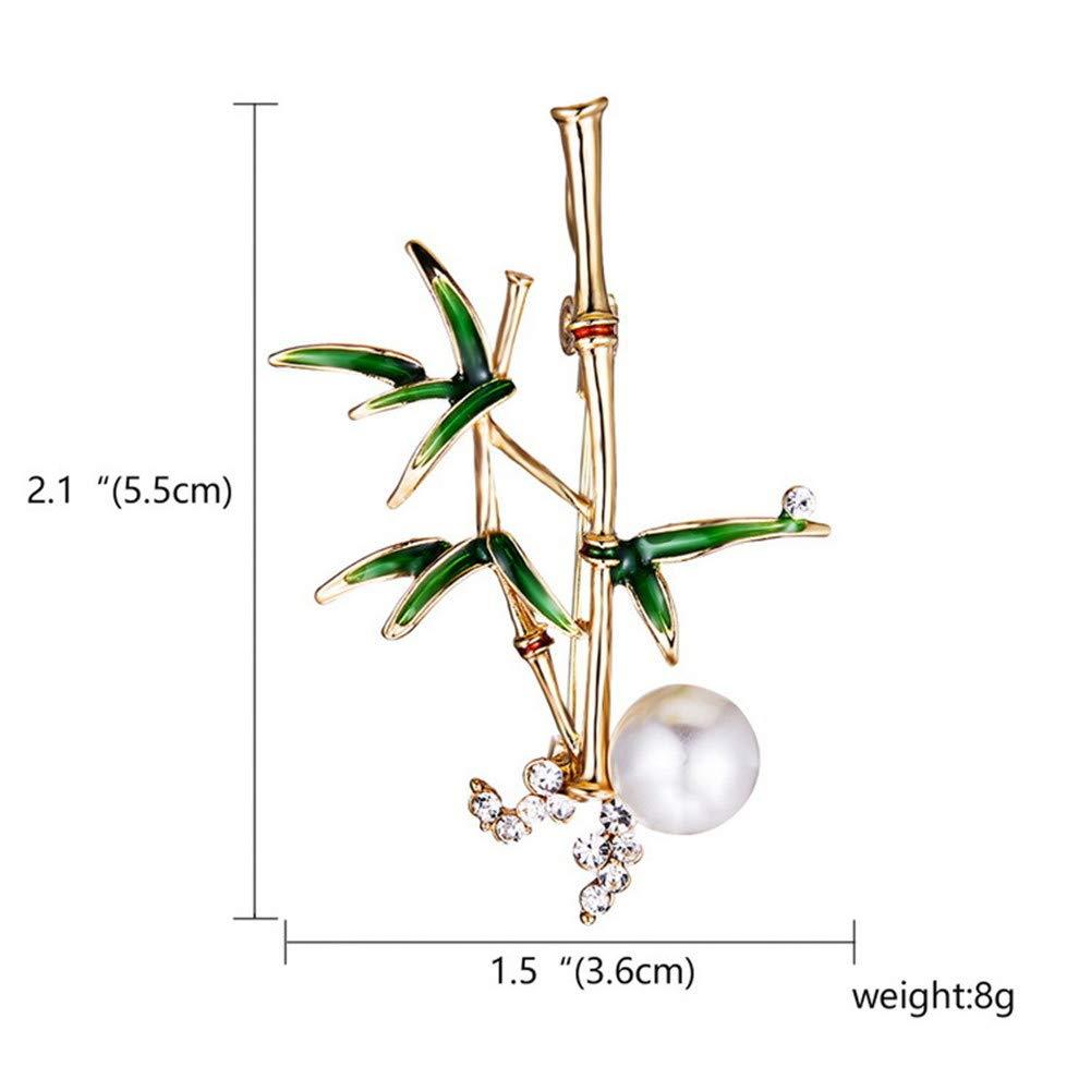 Aruie Broche Pins pour Femme Fille en Alliage Laque avec Strass Perle de Culture Bambou Feuille D/écoration Fantaisie Cadeau