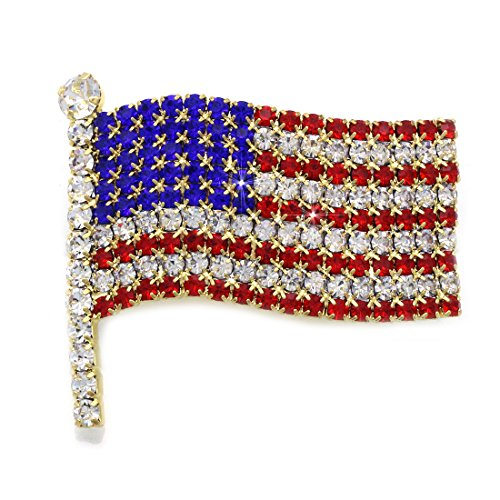 cocojewelry 4th of July American Flag Brooch Pin Independence Day Gift (Gold-tone Brooch)