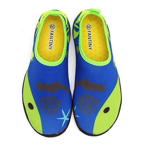 CIOR Kids Water Shoes Quick-Dry Boys and Girls Slip-On Aqua Beach Sneakers (Toddler/Little Kid/Big Kid),W18,W.Green,27 4