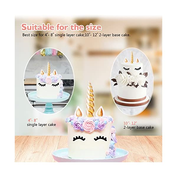 FZR Legend 3D Gold Unicorn Cake Topper with Eyelashes,Horn and Ears,Unicorn Party Supplies for Girls Boys Birthday Party… 6