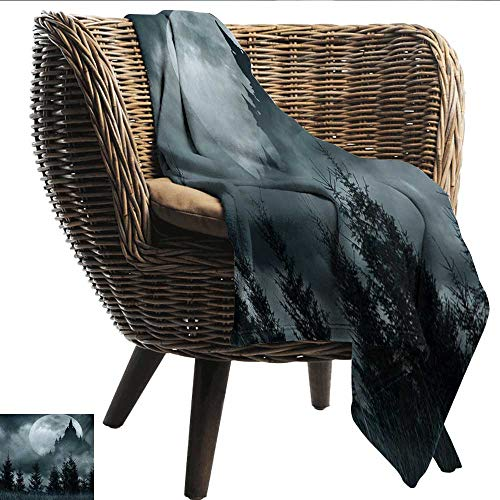 Anshesix Super Soft Blankets Halloween Magic Castle Silhouette Over Full Moon Night Fantasy Landscape Scary Forest Warm Blanket W70 xL93 Sofa,Picnic,Camping,Beach,Everyday -