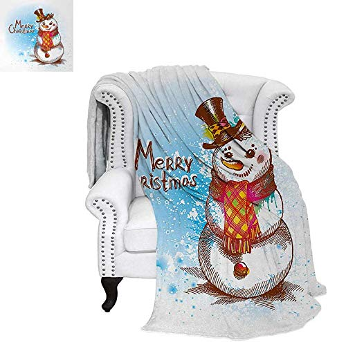 Weave Pattern Blanket Sketch Style Artwork Traditional Figure with Merry Christmas Wish Hat and Scarf Custom Design Cozy Flannel Blanket 80