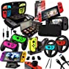 Accessories Kit for Nintendo Switch Games Bundle Wheel Grip Caps Carrying Case Screen Protector Controller 11