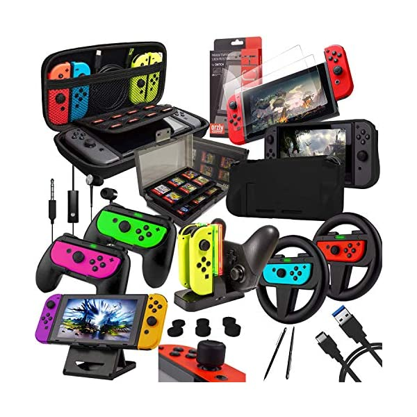 Switch Accessories Bundle - Orzly Geek Pack for Nintendo Switch: Case & Screen Protector, Joycon Grips & Racing Wheels… 1