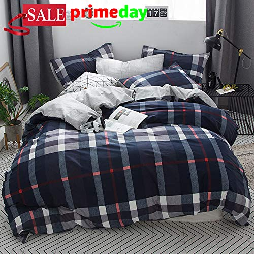 CLOTHKNOW Navy Plaid Tartan Duvet Cover Sets Full Queen Blue Plaid Men Bedding Set Boys 100 Cotton 3 pcs with Zipper Closure 1 Comforter Cover 2 Envelope Pillowcases (Plaid Duvet Cover Flannel Blue)