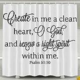HVSAA Custom Waterproof Bathroom Clean Heart God Hight Spirit Bible Verse Shower Curtain Polyester Fabric Shower Curtain Size 60 X 72inch
