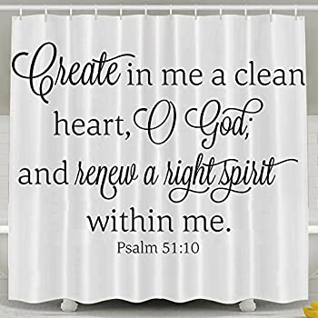 HVSAA Custom Waterproof Bathroom Clean Heart God Hight Spirit Bible Verse Shower Curtain Polyester Fabric Shower Curtain Size 60 X 72inch