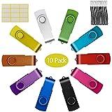 Uflatek 10pieces Memory Stick 128MB USB 2.0 Flash Drive Small Capacity Thumb Drives Swivel Pendrive Multicoloured Jump Drive - Orange/Yellow/White/Green/Sky Blue/Red/Rose Red/Black/Blue/Purple