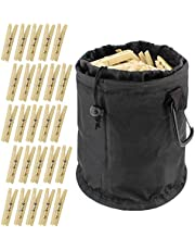 7Penn Wooden Clothespins with Bag - 50 Pack Set with Clothespin Bag for Clothesline Outdoor Clothes Pegs Wood Pin Holder