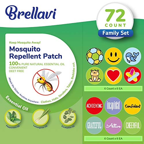 72 Count Mosquito Repellent Patches, Deet-Free Mosquito Repellent Patches, Natural Essential Oil Mosquito Repellent Stickers, Best Mosquito Repellent Patches for Family
