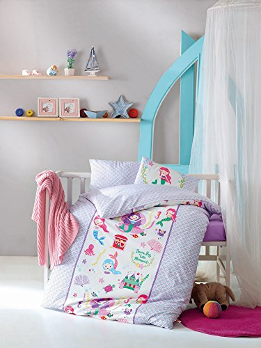 LaModaHome 4 Pcs Baby Dream Big Little Mermaid Sea Shell Octopus Fish Castle Toddler Cotton Bedding Set, Turkey 100% Cotton Nursery [without Quilt/Comforter] from LaModaHome