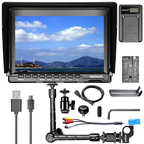 Neewer NW759 7Inch HD Camera Monitor Kit, 1280x800 IPS Screen Camera Monitor + 11Inch Magic Arm + USB Battery Charger + F550 Replacement Battery for Sony Canon Nikon Olympus Pentax Panasonic by Neewer