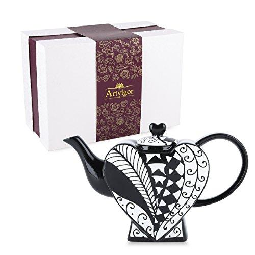 ARTVIGOR Hand Painted Heart-Shaped Porcelain Teapot, 850ml/29oz - Type I
