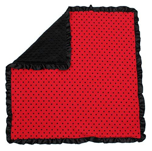 Dear Baby Gear Baby Blankets, Polka Dots Black on Red, Black Minky