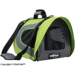 EliteField Airline Approved Soft Pet Carrier with Plush Bed for Dog and Cat, 18 L x 10 W x 11 H Inch, Apple Green/Gray