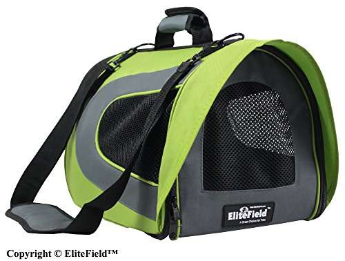 EliteField Airline Approved Soft Pet Carrier with Plush Bed for Dog and Cat, 18 L x 10 W x 11 H Inch, Apple Green/Gray ()