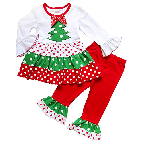 So Sydney Toddler Girls 2 Pc Christmas Tree Ruffle Pant Tunic Top Holiday Outfit (XL (6), Polka Dot Tree)