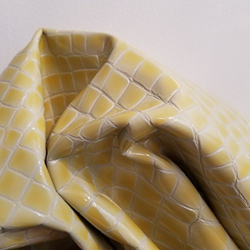 - Pale Yellow Patent Crocodile Croco 2.5 oz Soft Upholstery Chap Craft Handbag Cowhide Genuine Leather Piece 12 inch x 12 inch Cow Hide Skin NAT Leathers (12
