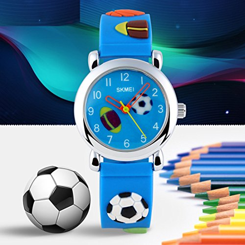 GRyiyi Kid's Outdoor Carton Waterproof Wrist Watch Time Teacher for Children 3D Rubber Band, Deep Blue by GRyiyi (Image #2)