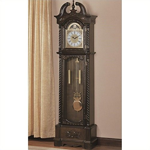 Coaster Home Furnishings 900721 Traditional Grandfather Clock, Brown by Coaster Home Furnishings