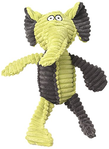 PetRageous Ribrageous Maui The Elephant Dog Toy, 13.5″, Lime/Gray