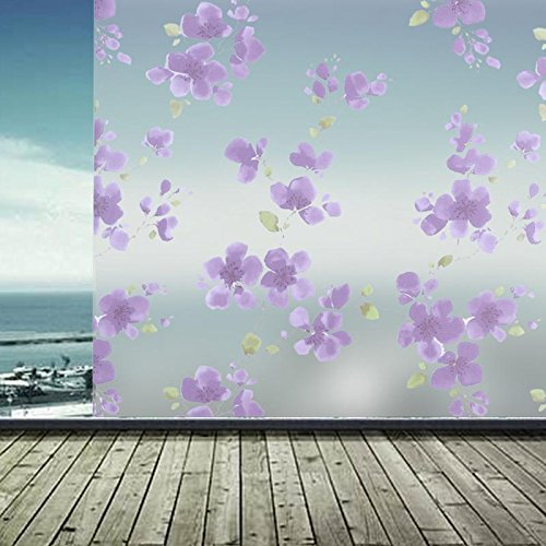 60 200cm Pvc Frosted Glass Film Bath Door Privacy Flower Window Waterproof Self Adhesive Sticker - Privacy Glass Sticker
