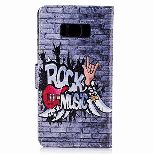 Yiizy Samsung Galaxy S8 Custodia Cover, Raffreddare Murale Design Sottile Flip Portafoglio PU Pelle Cuoio Copertura Shell Case Slot Schede Cavalletto Stile Libro Bumper Protettivo Borsa