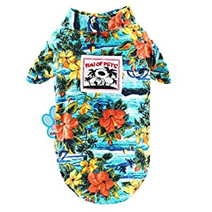 Stock Show Pet Hawaiian Shirt,2018 NewStyle Summer Beach Vest Short Sleeve Pet Clothes Dog Top Floral T-Shirt Hawaiian Tops Dog Jackets Outfits for Dogs Cats, Blue, S