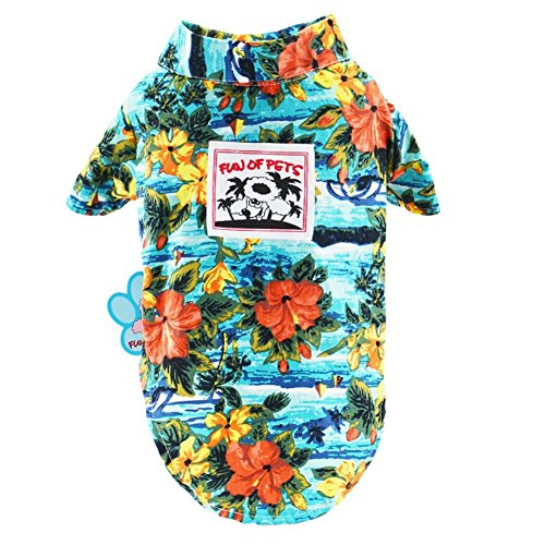 Stock Show Pet Hawaiian Shirt,2018 NewStyle Summer Beach Vest Short Sleeve Pet Clothes Dog Top Floral T-Shirt Hawaiian Tops Dog Jackets Outfits for Dogs Cats, Blue, XL