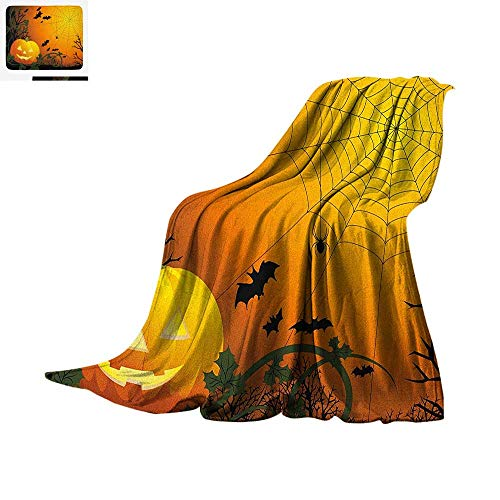 Spider Web Lightweight Blanket Halloween Themed Composition with