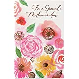 Floral Birthday Card for Mother-in-Law with Glitter