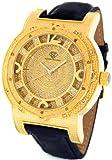 Super Techno Diamond Watch Mens Genuine Diamond Watch Oversized Gold Case Leather Band w/ 2 Interchangeable Watch Bands #M-6154